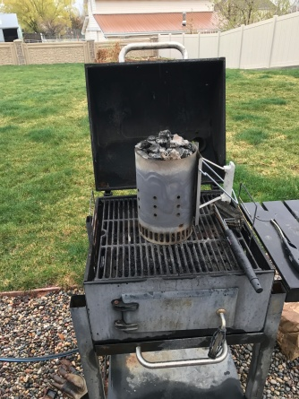 I light the charcoal on top of my old grill